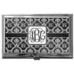 Monogrammed Damask Business Card Case