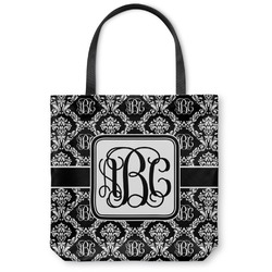 Monogrammed Damask Canvas Tote Bag (Personalized)