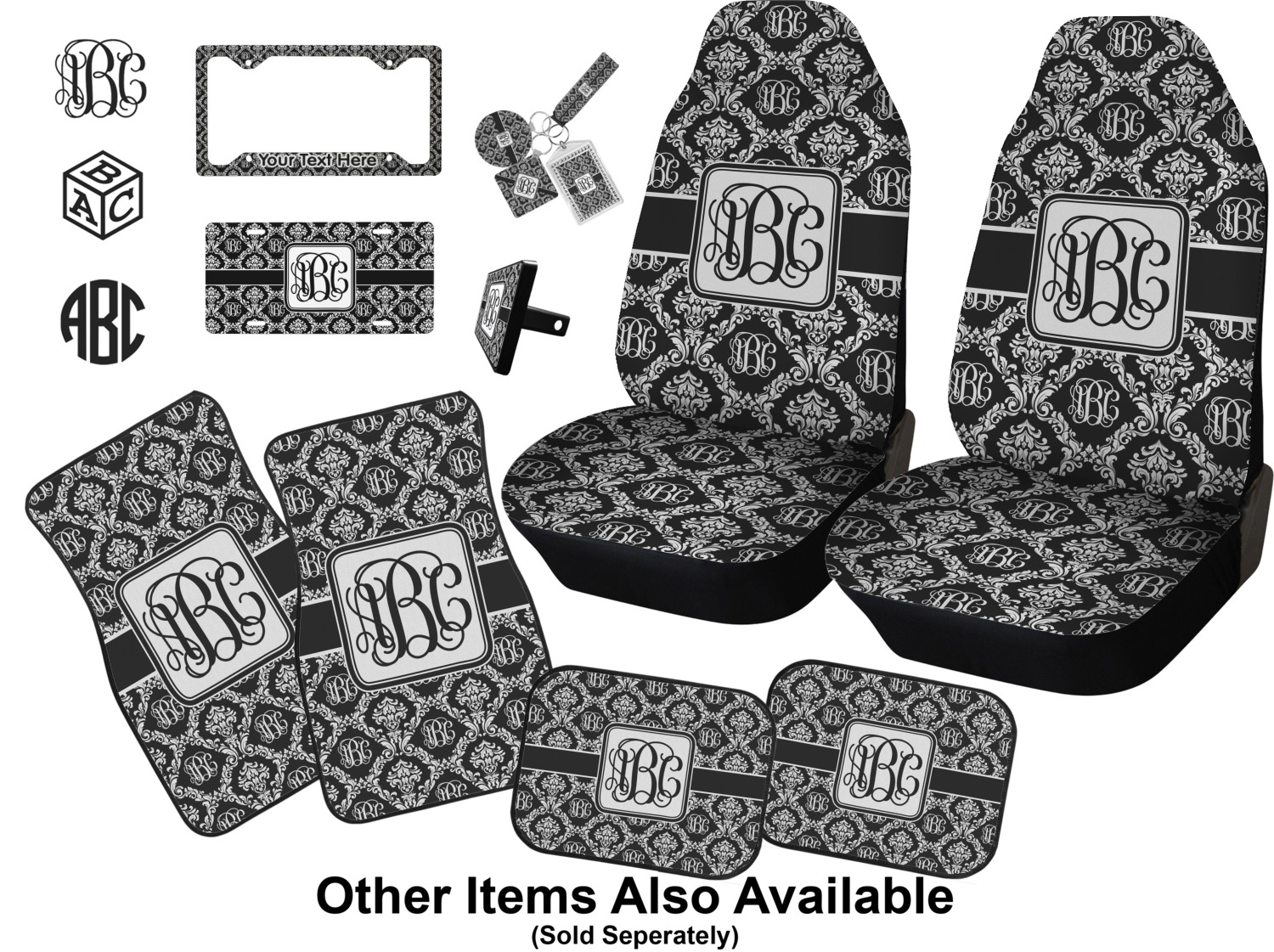 Monogrammed Damask Car Accessories Set Personalized
