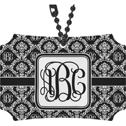 Monogrammed Damask Rear View Mirror Ornament (Personalized)