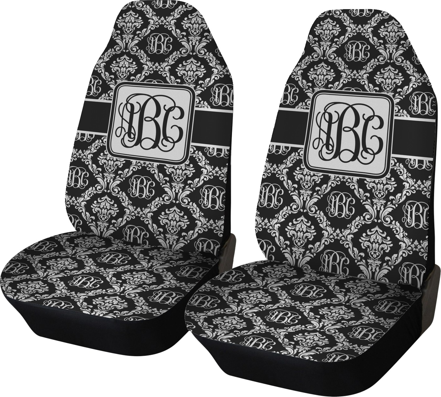 Monogrammed Damask Car Seat Covers Set Of Two