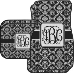 Monogrammed Damask Car Floor Mats Set - 2 Front & 2 Back (Personalized)