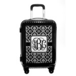 Monogrammed Damask Carry On Hard Shell Suitcase (Personalized)