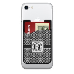 Monogrammed Damask 2-in-1 Cell Phone Credit Card Holder & Screen Cleaner (Personalized)