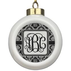 Monogrammed Damask Ceramic Ball Ornament