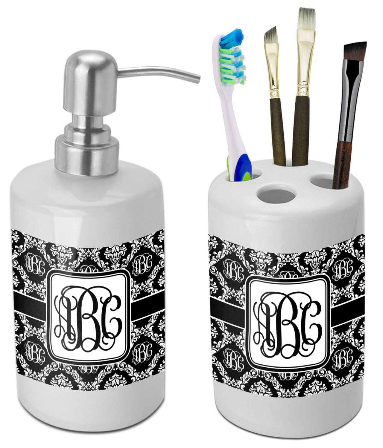 Monogrammed Damask Bathroom Accessories Set (Ceramic) (Personalized ...