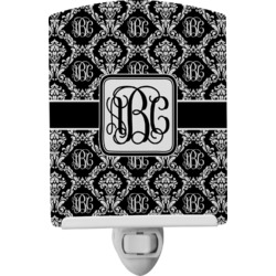 Monogrammed Damask Ceramic Night Light (Personalized)