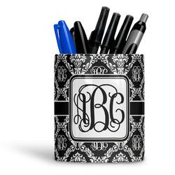 Monogrammed Damask Ceramic Pen Holder