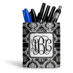 Monogrammed Damask Ceramic Pen Holder