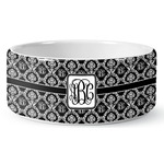 Monogrammed Damask Ceramic Dog Bowl (Personalized)