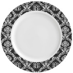 Monogrammed Damask Ceramic Dinner Plates (Set of 4) (Personalized)