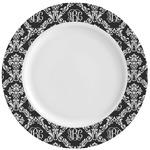 Monogrammed Damask Ceramic Dinner Plates (Set of 4) (Personalized)