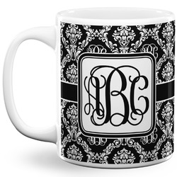 Monogrammed Damask 11 Oz Coffee Mug - White