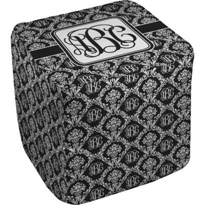 Monogrammed Damask Cube Pouf Ottoman (Personalized)