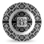 Monogrammed Damask Plastic Bowl - Microwave Safe - Composite Polymer (Personalized)