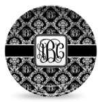 Monogrammed Damask Microwave Safe Plastic Plate - Composite Polymer (Personalized)