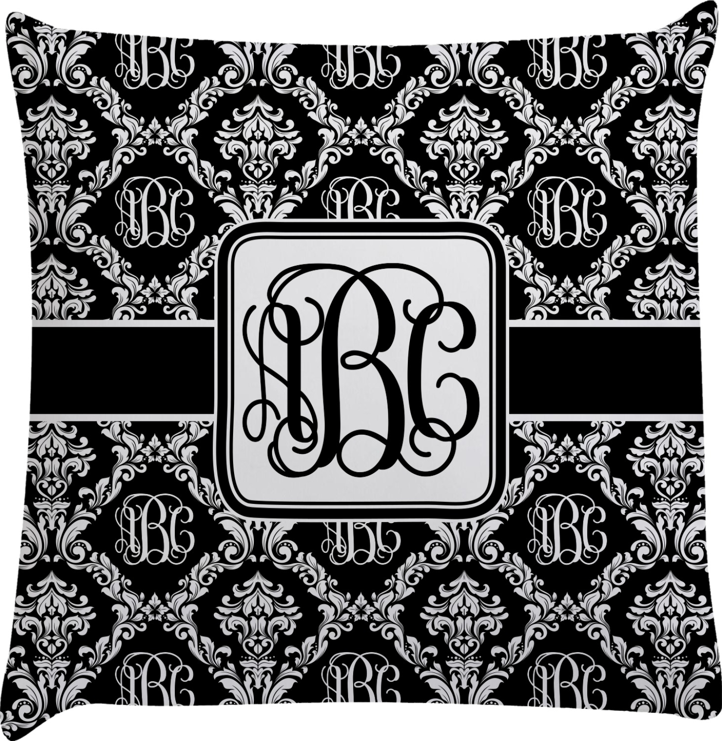 Monogrammed Damask Decorative Pillow Case (Personalized) - YouCustomizeIt