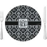 """Monogrammed Damask Glass Lunch / Dinner Plates 10"""" - Single or Set (Personalized)"""