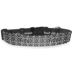 """Monogrammed Damask Deluxe Dog Collar - Extra Large (16"""" to 27"""") (Personalized)"""