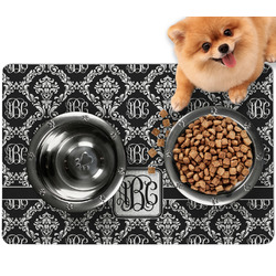 Monogrammed Damask Dog Food Mat - Small