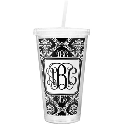 Monogrammed Damask Double Wall Tumbler with Straw (Personalized)