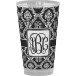 Monogrammed Damask Drinking / Pint Glass (Personalized)