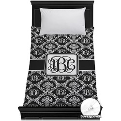 Monogrammed Damask Duvet Cover - Twin (Personalized)
