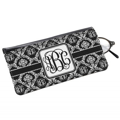 Monogrammed Damask Genuine Leather Eyeglass Case (Personalized)