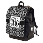 Monogrammed Damask Backpack w/ Front Flap  (Personalized)