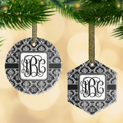 Monogrammed Damask Flat Glass Ornament