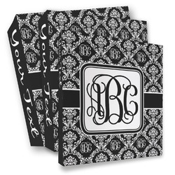 Monogrammed Damask 3 Ring Binder - Full Wrap