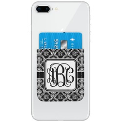 Monogrammed Damask Genuine Leather Adhesive Phone Wallet (Personalized)