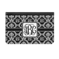 Monogrammed Damask Genuine Leather ID & Card Wallet - Slim Style (Personalized)