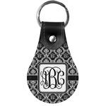 Monogrammed Damask Genuine Leather  Keychain (Personalized)