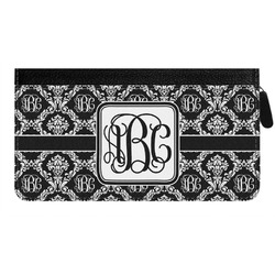 Monogrammed Damask Genuine Leather Ladies Zippered Wallet (Personalized)