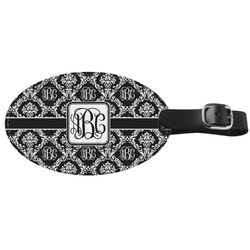 Monogrammed Damask Genuine Leather Oval Luggage Tag (Personalized)