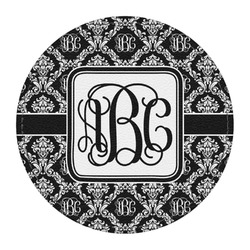 Monogrammed Damask Round Desk Weight - Genuine Leather  (Personalized)