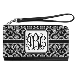 Monogrammed Damask Genuine Leather Smartphone Wrist Wallet (Personalized)