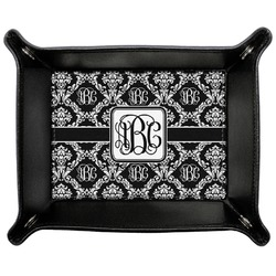 Monogrammed Damask Genuine Leather Valet Tray (Personalized)