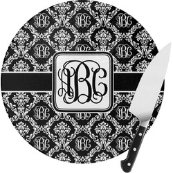 Monogrammed Damask Round Glass Cutting Board (Personalized)