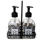 Monogrammed Damask Soap & Lotion Dispenser Set (Glass) (Personalized)