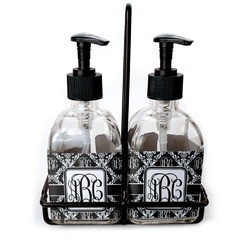 Monogrammed Damask Glass Soap & Lotion Bottles