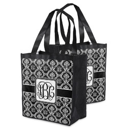 Monogrammed Damask Grocery Bag (Personalized)