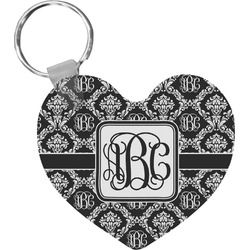 Monogrammed Damask Heart Keychain (Personalized)