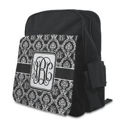 Monogrammed Damask Kid's Backpack with Customizable Flap