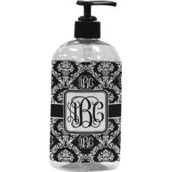 Monogrammed Damask Plastic Soap / Lotion Dispenser (16 oz - Large) (Personalized)