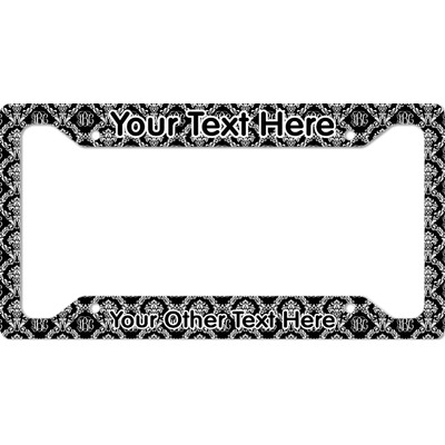 Monogrammed Damask License Plate Frame - Style A