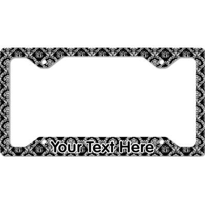 Monogrammed Damask License Plate Frame - Style C
