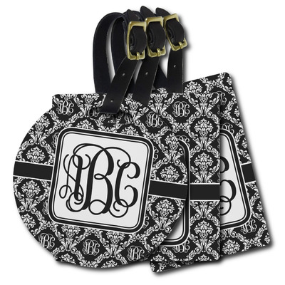 Monogrammed Damask Plastic Luggage Tags