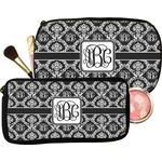 Monogrammed Damask Makeup / Cosmetic Bag (Personalized)